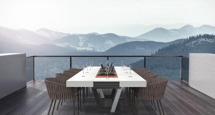 table extérieur appareil de cuisson montagne